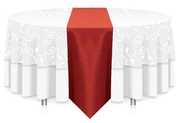 """12""""W Faux Dupioni Polyester Based Table Runner Linen-Burnt Orange"""