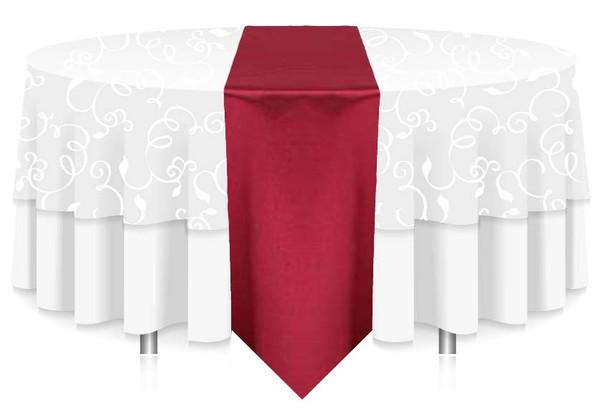 "12""W Faux Dupioni Polyester Based Table Runner Linen-Burgundy"