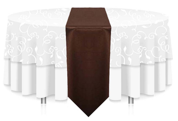 """12""""W Faux Dupioni Polyester Based Table Runner Linen-Brown"""