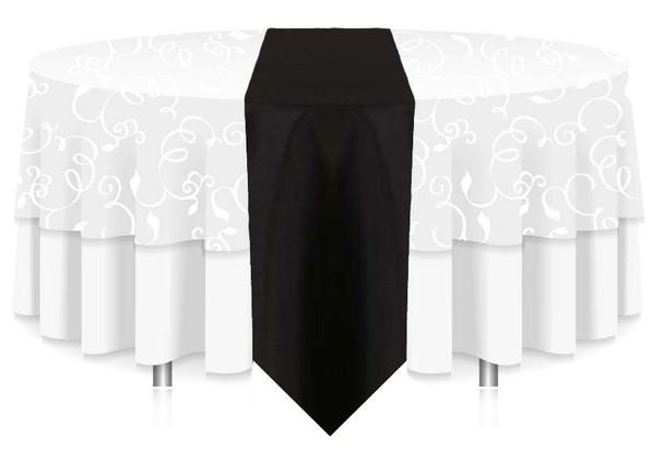 "12""W Faux Dupioni Polyester Based Table Runner Linen-Black"