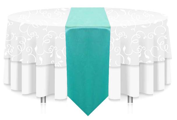 "12""W Faux Dupioni Polyester Based Table Runner Linen-Aqua"