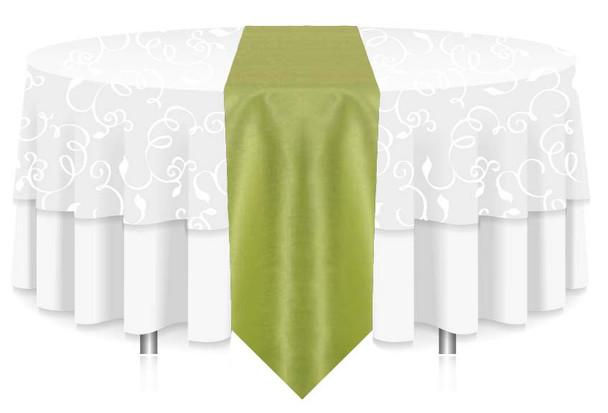 "12""W Faux Dupioni Polyester Based Table Runner Linen-Apple"