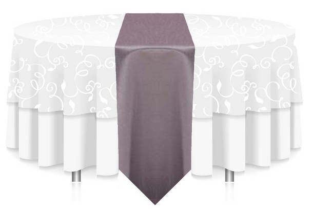 """12""""W Faux Dupioni Polyester Based Table Runner Linen-Grey"""