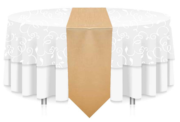 """12""""W Faux Dupioni Polyester Based Table Runner Linen-Gold"""