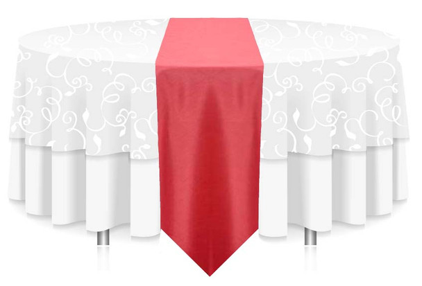 """12""""W Faux Dupioni Polyester Based Table Runner Linen-Coral"""