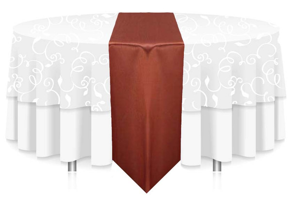 """12""""W Faux Dupioni Polyester Based Table Runner Linen-Copper"""