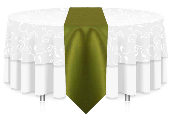 """12""""W Faux Dupioni Polyester Based Table Runner Linen-Chartreuse"""