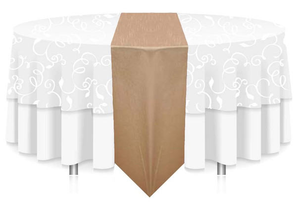 """12""""W  Faux Dupioni Polyester Based Table Runner Linen"""