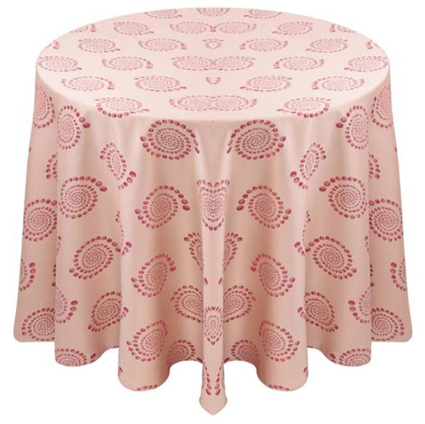 Kaleidoscope Art Deco Jacquard Tablecloth Linen-Blush