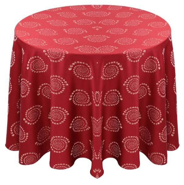 Kaleidoscope Art Deco Jacquard Tablecloth Linen-Crimson
