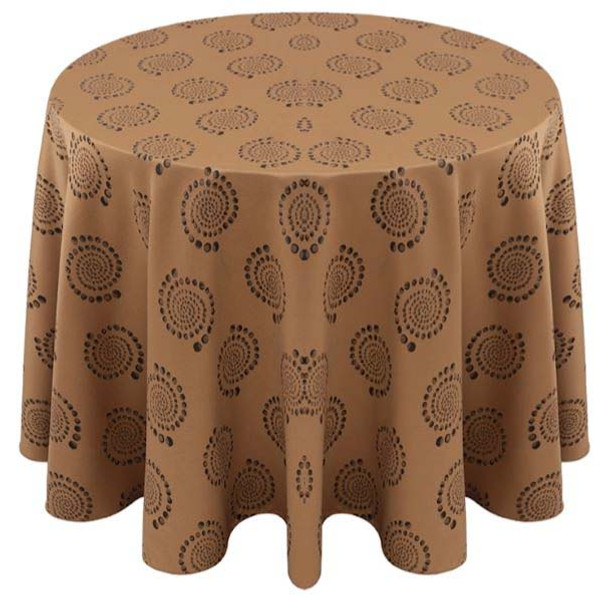 Kaleidoscope Art Deco Jacquard Tablecloth Linen-Khaki