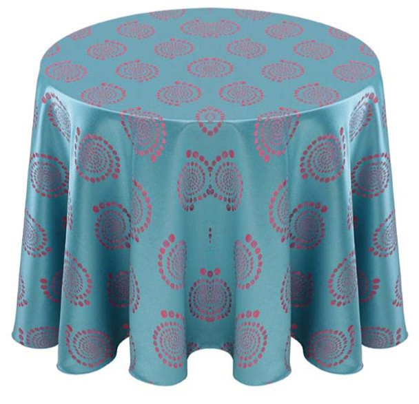Kaleidoscope Art Deco Jacquard Tablecloth Linen-Turquoise Pink