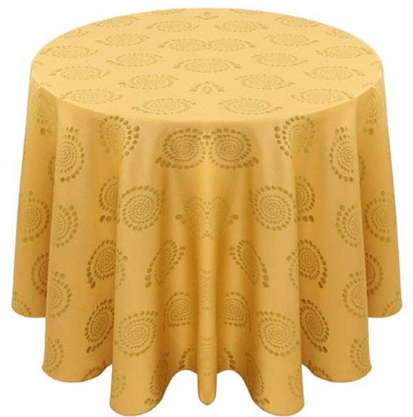 Kaleidoscope Art Deco Jacquard Tablecloth Linen-Wheat