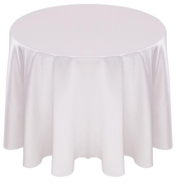 Matte Satin Tablecloth Linen-White