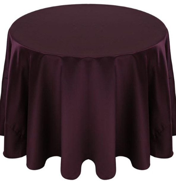 Matte Satin Tablecloth Linen-Aubergine