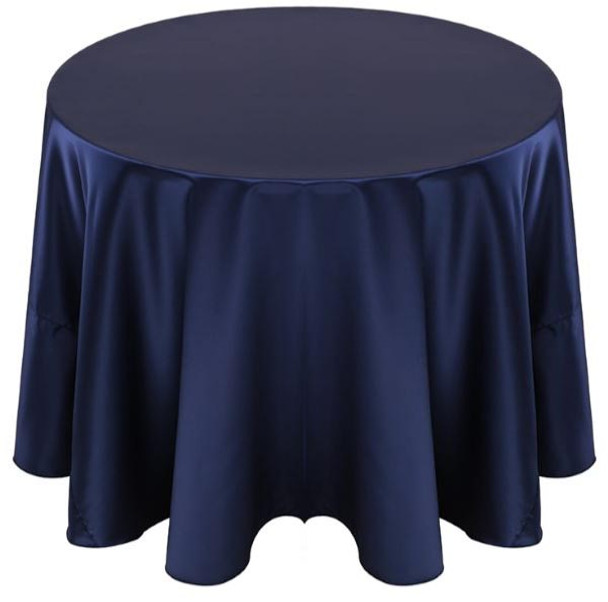 Matte Satin Tablecloth Linen-Navy
