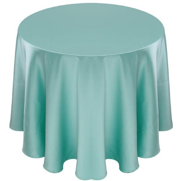 Matte Satin Tablecloth Linen-Tiffany Blue