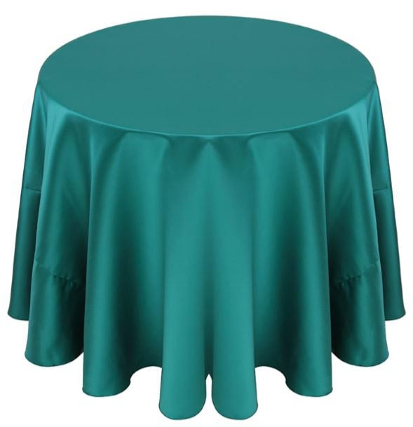 Matte Satin Tablecloth Linen-Teal