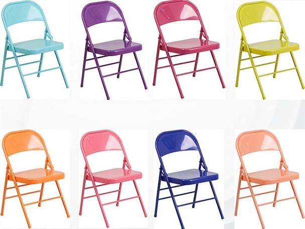 Hercules Colorburst Series-Triple Braced & Double Hinged Metal Folding Chair