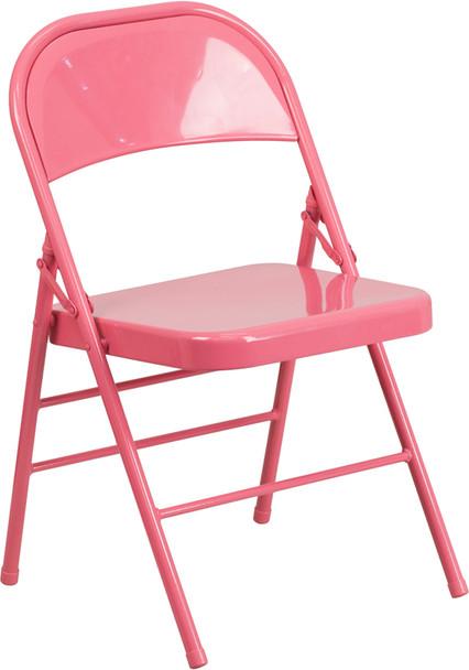 Hercules Colorburst Series-Triple Braced & Double Hinged Metal Folding Chair-Pink