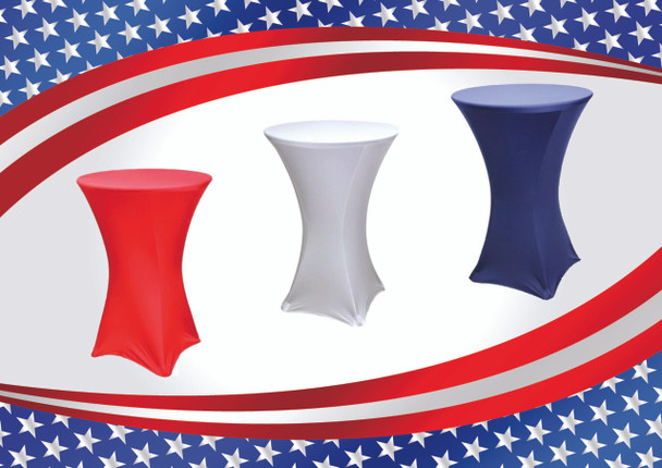 """Patriotic Spandex Cocktail Table Linen In Red, White, & Blue Set for 30"""" & 36"""" Round Top"""