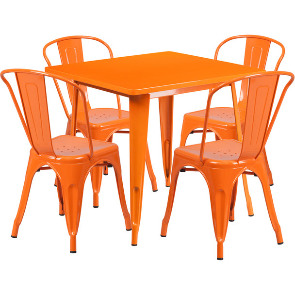 "Indoor/Outdoor Cafe Metal 5 Piece set- 31.5"" Square Table set with 4 Stack Chairs-Orange"