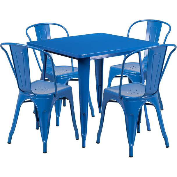 "Indoor/Outdoor Cafe Metal 5 Piece set- 31.5"" Square Table set with 4 Stack Chairs-Blue"