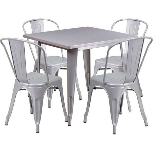 "Indoor/Outdoor Cafe Metal 5 Piece set- 31.5"" Square Table set with 4 Stack Chairs-Silver"