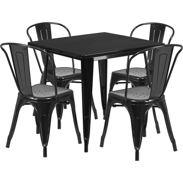 "Indoor/Outdoor Cafe Metal 5 Piece set- 31.5"" Square Table set with 4 Stack Chairs-Black"