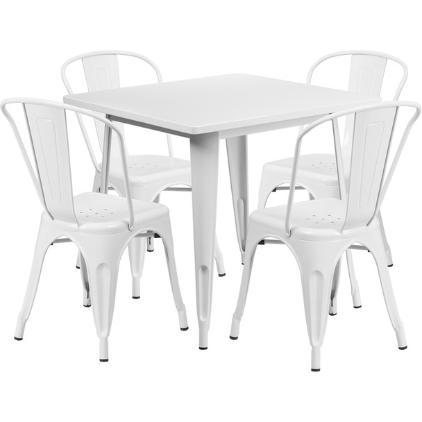 "Indoor/Outdoor Cafe Metal 5 Piece set- 31.5"" Square Table set with 4 Stack Chairs-White"