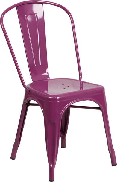 "Indoor/Outdoor Cafe Metal 5 Piece set- 31.5"" Square Table set with 4 Stack Chairs-Purple Chair"