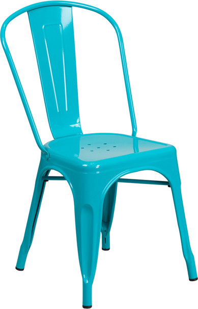 "Indoor/Outdoor Cafe Metal 5 Piece set- 31.5"" Square Table set with 4 Stack Chairs-Crystal Teal Chair"