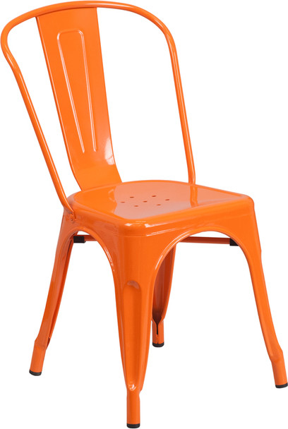 """Indoor/Outdoor Cafe Metal 5 Piece set- 31.5"""" Square Table set with 4 Stack Chairs-Orange Chair"""