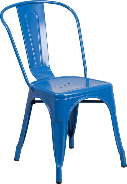 """Indoor/Outdoor Cafe Metal 5 Piece set- 31.5"""" Square Table set with 4 Stack Chairs-Blue Chair"""
