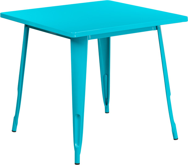 """Indoor/Outdoor Cafe Metal 5 Piece set- 31.5"""" Square Table set with 4 Stack Chairs-Crystal Teal Table"""