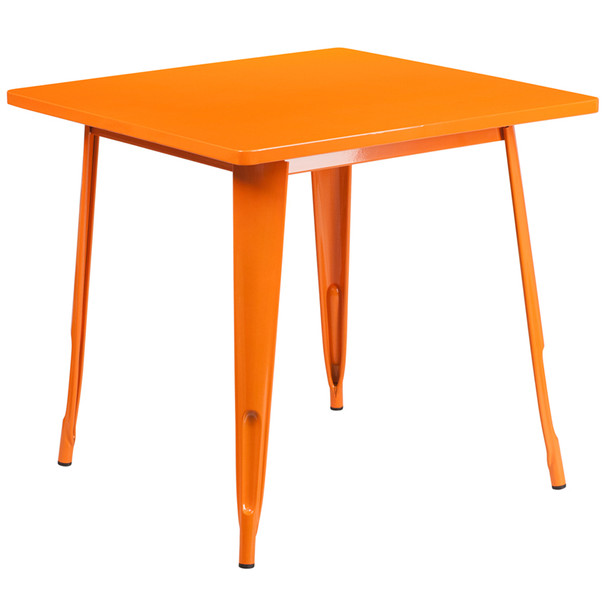 "Indoor/Outdoor Cafe Metal 5 Piece set- 31.5"" Square Table set with 4 Stack Chairs-Orange Table"