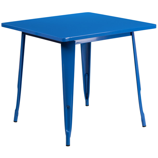 """Indoor/Outdoor Cafe Metal 5 Piece set- 31.5"""" Square Table set with 4 Stack Chairs-Blue Table"""
