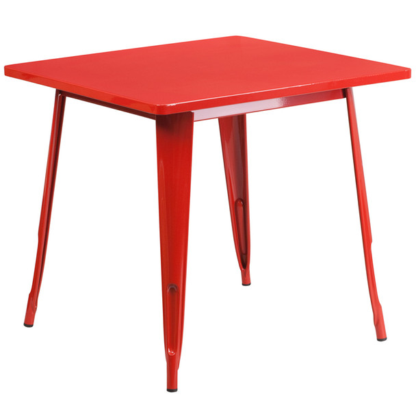 """Indoor/Outdoor Cafe Metal 5 Piece set- 31.5"""" Square Table set with 4 Stack Chairs-Red Table"""