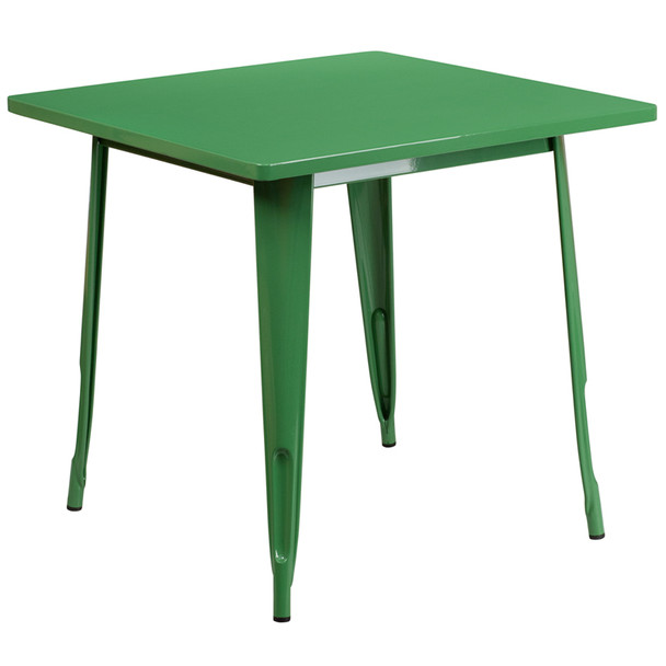 "Indoor/Outdoor Cafe Metal 5 Piece set- 31.5"" Square Table set with 4 Stack Chairs-Green Table"