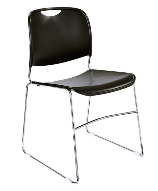 8500 Series High-Tech Ultra Compact Plastic Stacking Chair By National Public Seating-Black