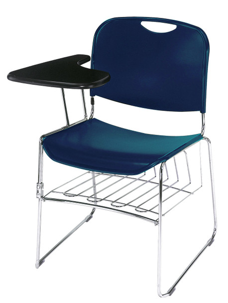8500 Series High-Tech Ultra Compact Plastic Stacking Chair By National Public Seating-Navy Blue with Tablet Arm and Book Rack
