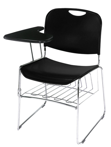 8500 Series High-Tech Ultra Compact Plastic Stacking Chair By National Public Seating-Black with Tablet Arm and Book Rack