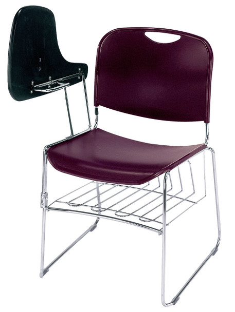 8500 Series High-Tech Ultra Compact Plastic Stacking Chair By National Public Seating-Wine with Tablet Arm and Book Rack