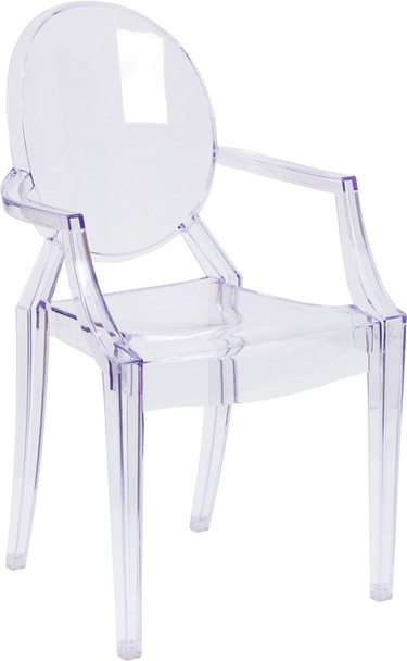 Louis XVI Transparent Crystal Ghost Chair with Arms