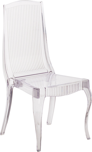 High Back Elegance Crystal Ice Stacking Chair