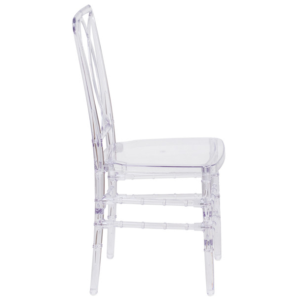 Elliptical Elegance Crystal Ice Stacking Chair