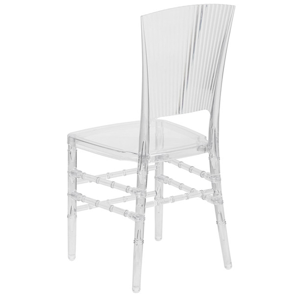 Ribbed Elegance Crystal Ice Stacking Chair