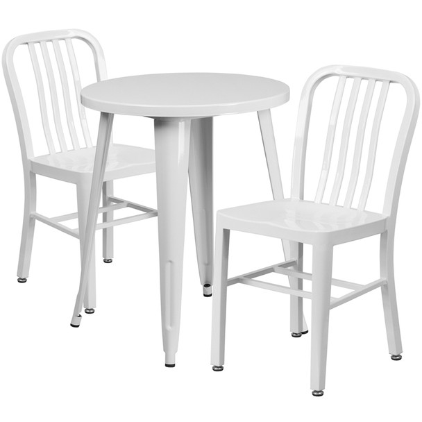 "Metal Indoor/Outdoor Cafe Table Set with Vertical Slat Chairs-24"" Round with 2 Chairs-WHITE"