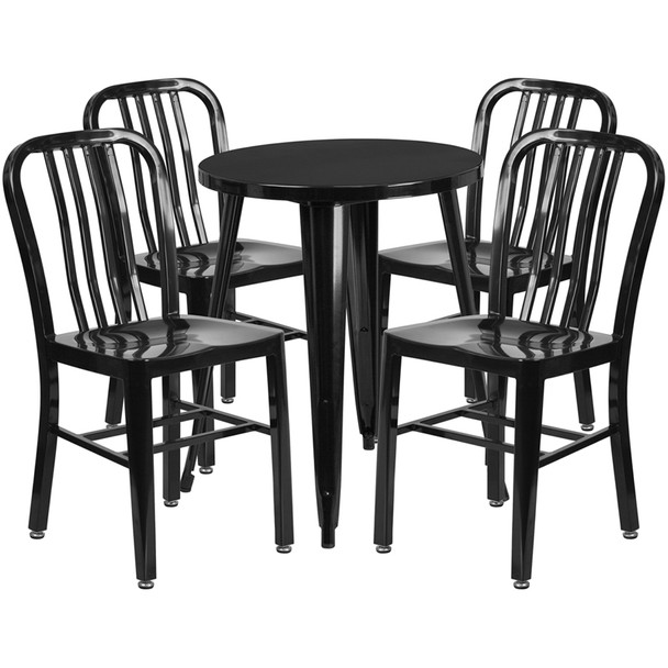 "Metal Indoor/Outdoor Cafe Table Set with Vertical Slat Chairs-24"" Round with 4 Chairs-Black"