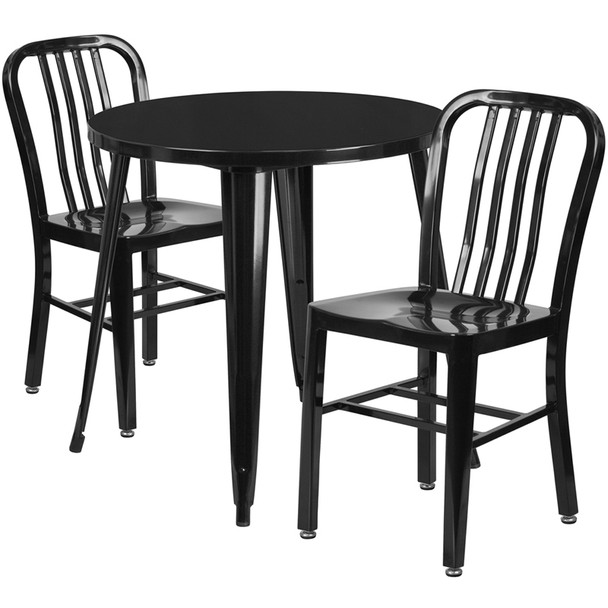"Metal Indoor/Outdoor Cafe Table Set with Vertical Slat Chairs-30"" Round with 2 Chairs-Black"